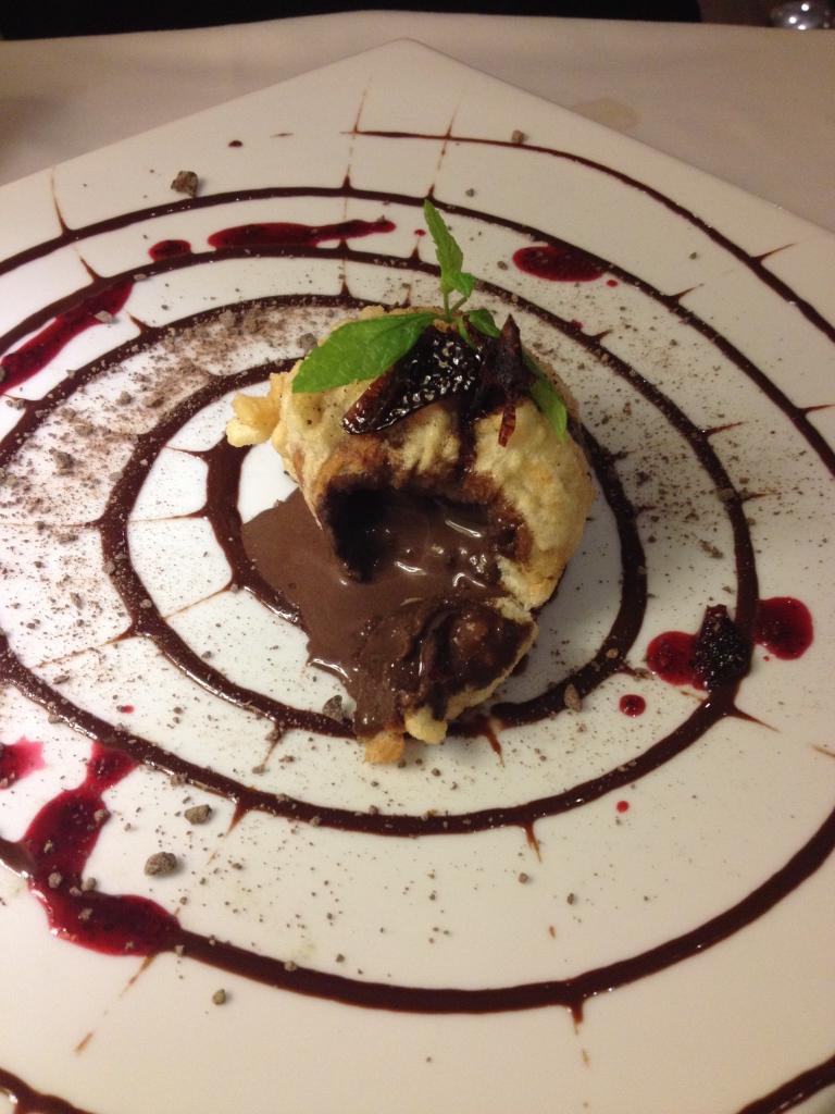 Helado de chocolate tempurizado